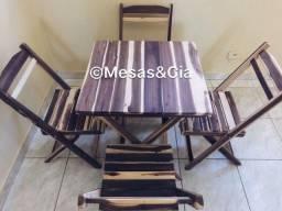 Jogo de mesas e cadeiras desmontáveis