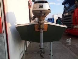 Barco de fibra com motor Honda 2hp - 2005