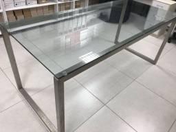 Mesa aço com tampo em vidro temperado 10mm