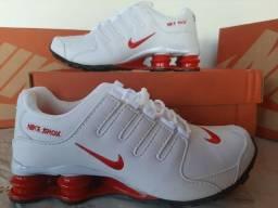 Nike Shox 4 molas branco/vermelho