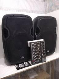 Par de caixas ativas 15polegadas 800wrrms total+ mesa Efeito/USB/Phantom+ cabos