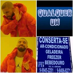 Geladeira, freezer, bebedouro; Trabalhamos, *
