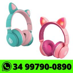 Fone de Ouvido Headphone Orelha de Gato Bluetooth com Led