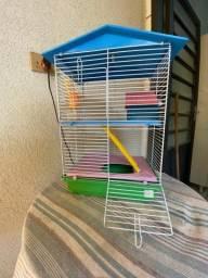 Título do anúncio: Gaiola para hamster (acompanha talco para banho, serragem higiênica e comida para hamster)