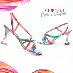 Sandália Feminina Salto Baixo Fino Tira Metalizada Colorida Mod.G-15001A