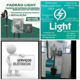 Eletrotécnico Padrão Light Eletricista Profissional Instalação de Poste Galvanizado.