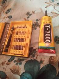 Cola t7000 e jogo de chave pra celular