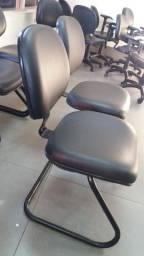 Cadeira Fixa sem Braços Preta Napa