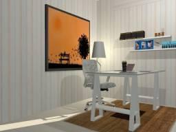 Mesa de estudo, em madeira maciça com vidro 8mm, pag após entrega 75-982263187