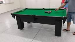 Mesa de Sinuca e Bilhar Quatro Pés Tecido Verde Cor Preta Mod. RTU3121