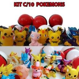 Pokebola 5,5 Cm- Bola Com Pokemons Sortido - Kit 10 Unidades