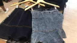 Saia jeans peplum nova G