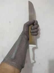 Vendo uma Luva Aço Inox anti-corte punho longo pra açougueiro, NOVA, EUROFLEX