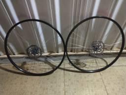 Jogo rodas completos specialized stout com pneus, cubos, discos e câmara