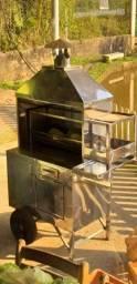 Carrinho de churrasco e máquina  de frango assado
