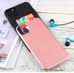 Capa (Capinha) iPhone 11 com porta cartão de crédito (cor Rosa )