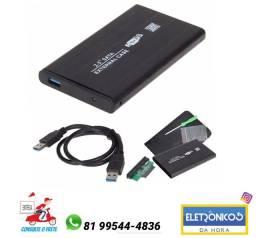 CASE HD SATA NOTEBOOK 2.5 USB 3.0 BOLSO só zap