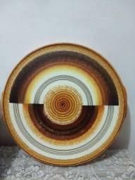 bandeja antiga de cerâmica década de 80