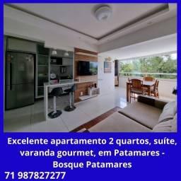 Excelente apartamento 2 quartos, suíte, varanda gourmet, em Patamares