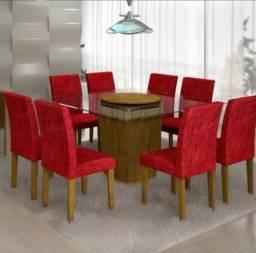 MESA 1,4m X 1,4 - Plataforma Giratória - 8 cadeiras