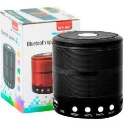 Caixa de Som Bluetooth Recarregável - USB Micro SD Auxiliar WS-887