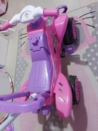 Veículo Carrinho De Passeio Calesita Cross Turbo Pink Com Pedal