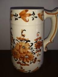 caneca de chope porcelana antiga pintada a mão desenhos florais17cm d