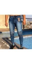 Calças masculina zíper e tradicional skinny