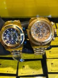 Relógio invicta bolt Zeus dourado e azul