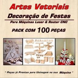 Artes Vetoriais Decoração De Festas CNC Router/Laser 100 Pçs