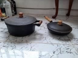 Panela e frigideira de ferro