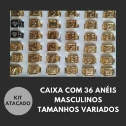 Combo Anéis Atacado Caixa 36 Peças Masculinos