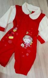Tip top bebê vermelho de malha - 0 a 4 meses