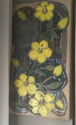 Tela abstrata com flores ibisco