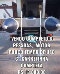 VENDO BOTE COMPLETO COM MOTOR E CARRETINHA