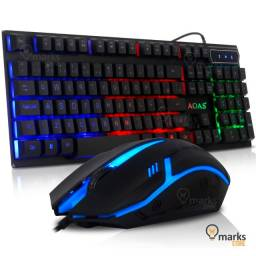 Kit Teclado e Mouse Gamer Retroiluminado RGB Semi-Mecanico