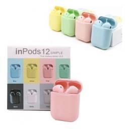 Fone Bluetooth Sem Fio TWS I12 Rosa Verde e Branco