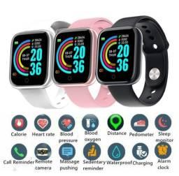 Smartwatch D20/Y68 com Monitor cardiaco e Bluetooh resistente a água para Android/IOS