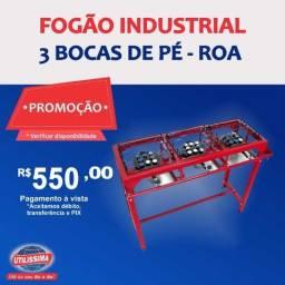 Fogão Industrial 3 bocas de pé / marca roa ?