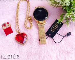Kit de relógio+cordão+brinco