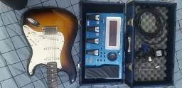 Título do anúncio: Guitarra Fender GC-1 by Roland Midi + Pedaleira GR-55 + Cubo Marshall Code 25