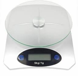 Balança Digital com Prato de Vidro de 1G até 5KG