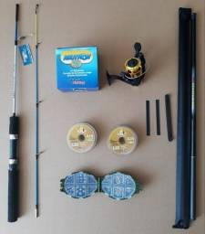 Kit p/ Pesca - Varas, molinete, linha, estojo completo e enrolador de linha