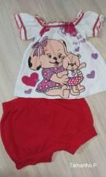 02 Conjuntos bebê menina Tamanho P