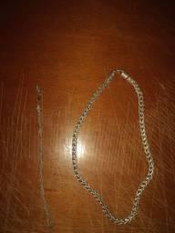 Cordão e pulseira de prata escama de dragao
