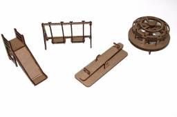 Mini moveis em MDF para casinha de boneca Poly Maquete Robótica