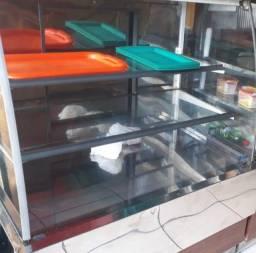 Balcão vitrine com leds - natural.