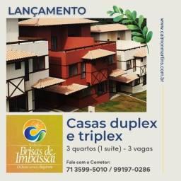 Casas Duplex no Brisas de Imbassaí, 3/4 com 1 suíte e 3 vagas em 89m² - Lançamento
