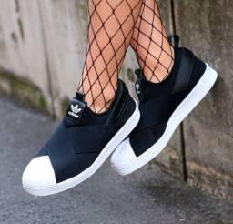 Tênis Adidas Superstar Slip-On Preto Novo Número 34 ao 43<br><br>