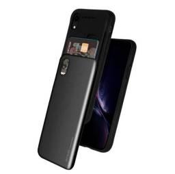 Capa (Capinha) iPhone XS ou X com porta cartão de crédito (cor preta)